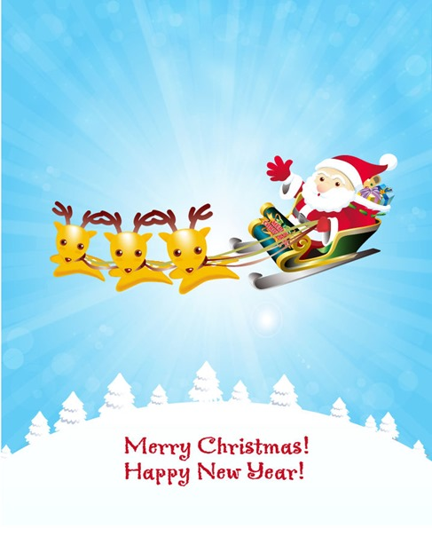 Christmas Background with Reindeer and Santa Claus
