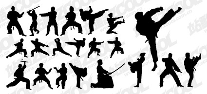 Kung fu martial arts action figure silhouettes vector materi