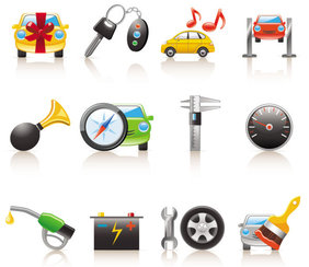 Cartoon cars and peripheral products icons