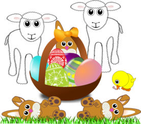 Funny lambs, bunnies and chick with Easter eggs in a basket