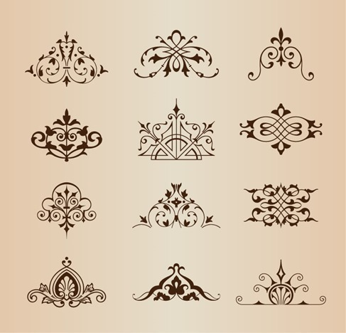 Set of Vintage Ornaments with Floral Elements