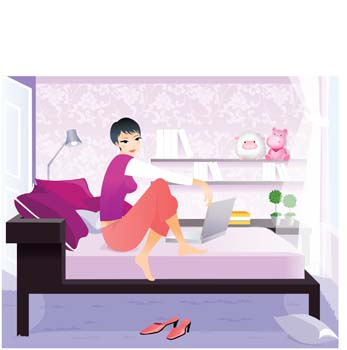 Girl in her bedroom with laptop