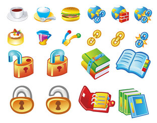 Books Food Icon Vector Graphic Lock Link