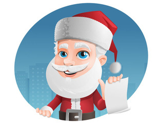 Santa Claus Vector Character Holding a Note