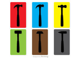 Colorful Silhouette Hammers Vector Pack