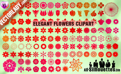 124 Vector Flowers Clipart