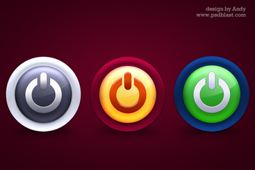 Glossy colorful power icons