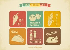 Free Retro Mexican Food Vector Icons