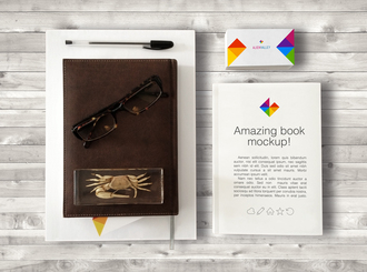 Book & Business Card Mockup