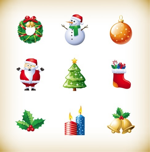 Christmas New Year Holiday Decoration Elements Vector Set