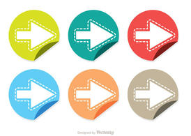 Folded Next Step Stiker Icons Vector Pack