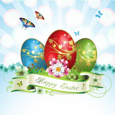 Stunning Easter Card with Butterflies & Eggs