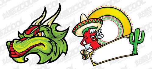Cartoon style illustrations and Mexico leading vector materi