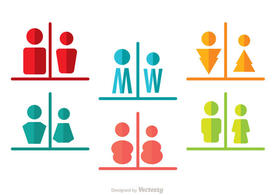 Man And Woman Rest Room Split Icons Vector Pack