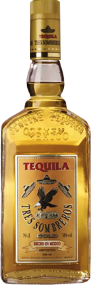 Tres Sombreros Gold Tequila Bottle (241 Design) PSD