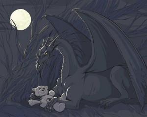 Stock Illustrations Dragon with Teddy