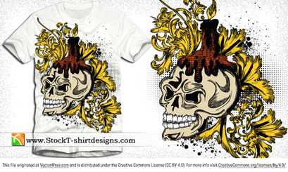 Free Vector Skull and Floral T-shirt Design