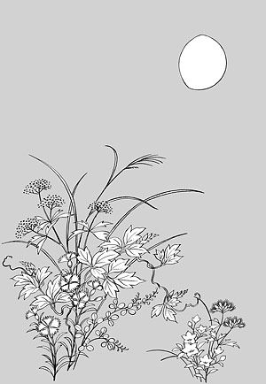 Japanese line drawing of plant material -5 Flower Vector (Ak