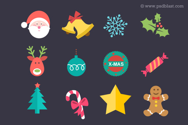 Flat Christmas Icon Set (PSD)