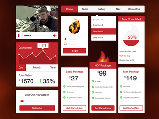 Freebie PSD: fire UI Kit