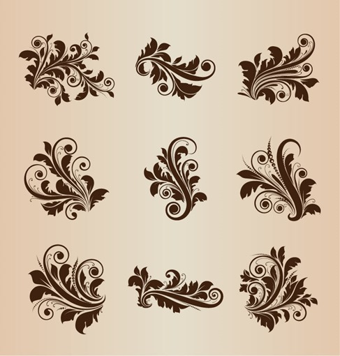 Vintage Design Floral Elements Vector Set