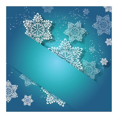 Labeled Up Turquoise Xmas Invitation with Snowflake