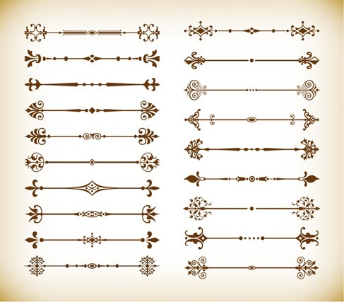 Vector Calligraphic Design Elements and Page Decoration Dividers