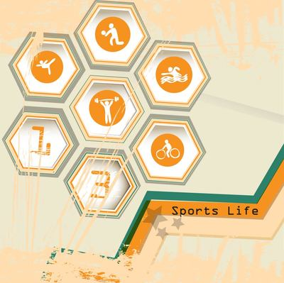 Hexagon Sports Life Icon with Grungy Stain