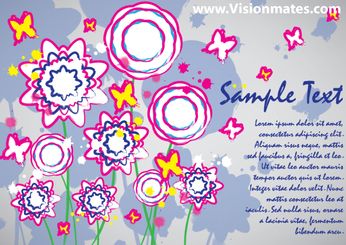 Colorful Flowers Vector Card