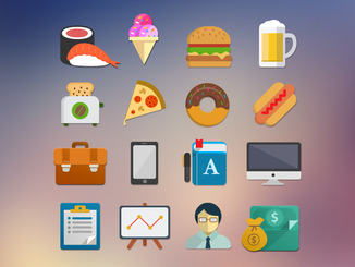Colorful Flat Icons Set