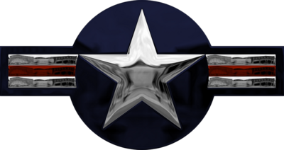 Chrome US Air Force Roundrel (used on aircraft wings) PSD