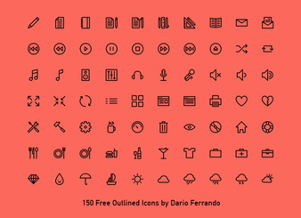 150 outlined icons - PSD AI SVG Webfont EXCLUSIVE