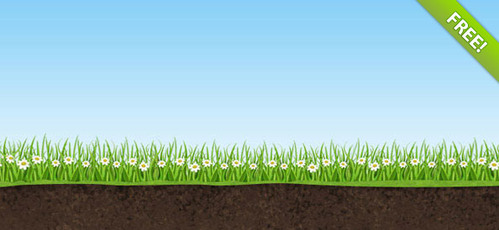 Nature PSD Background with Sky, Grass and Earth