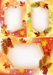 3 Vector autumn maple leaves background