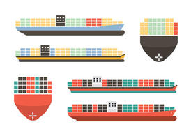Colorful Container Ship Vectors