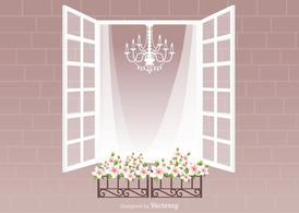 Free Window With Curtain And Flowers