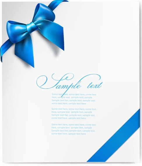 Vector Gift Card with Blue Ribbon