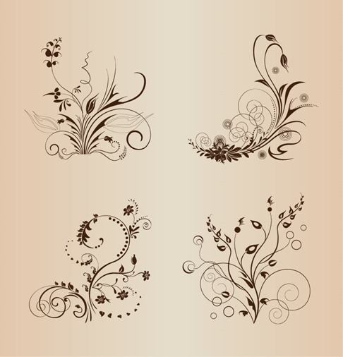 4 Vector Floral Design Elements