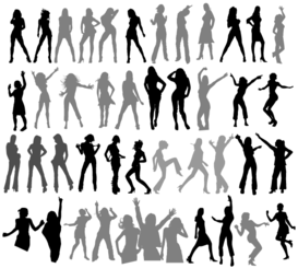 Dancing Girls Silhouettes Vector Free