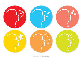 Girl Face Skin Care Icon Vector Pack