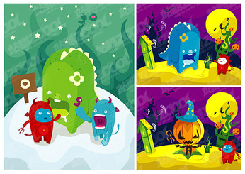 The trend of color cartoon illustration