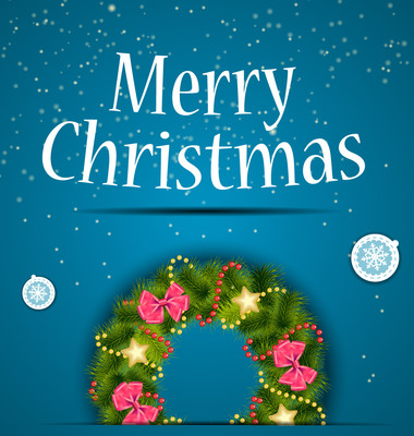 Blue Christmas Background with Decorative Wreath