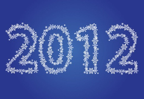 New Year 2012 Made of Snowflakes