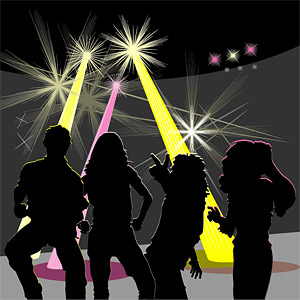 disco vector silhouette of men and women within the material