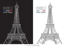 Free Abstract Line Eiffel Tower