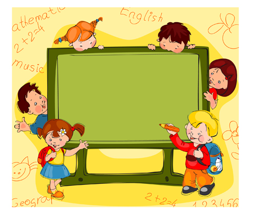 Hand drawn school kids vector background material 03