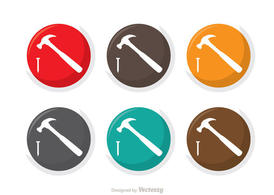 Hammer And Nail Icons Vector Pack