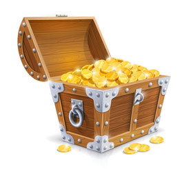 Illustration of Pirate treasure chest with gold coins