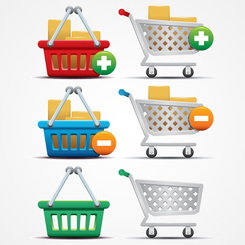 Shopping Cart Icons and Basket Vector Graphics (Free)