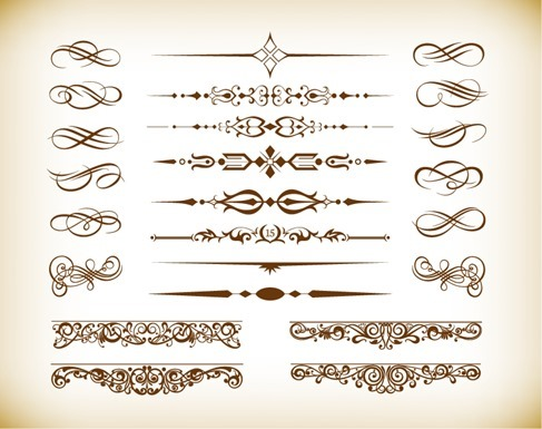 Floral Design Elements Vector Graphics Set